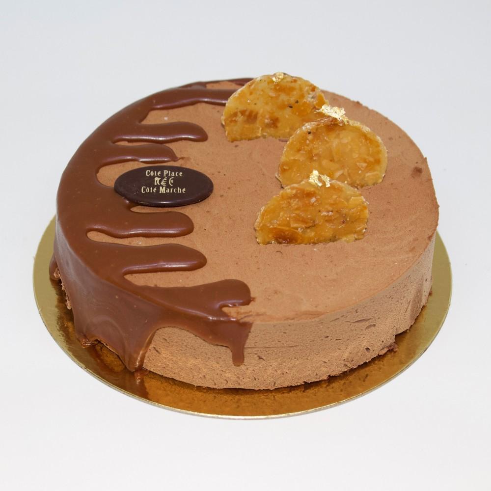Mousse chocolat noir nougatine et caramel