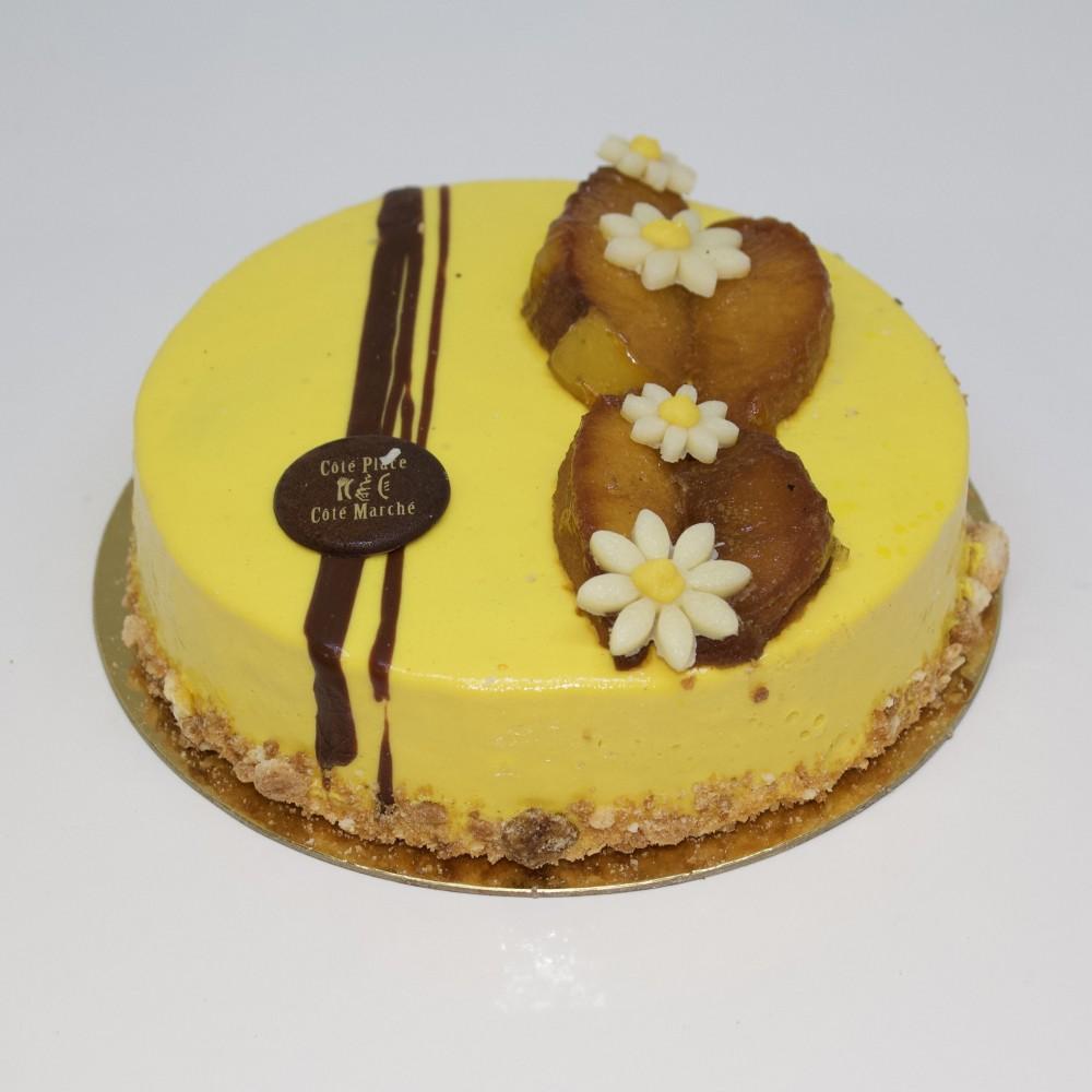 Crème vanille pommes caramélisées et coulis caramel